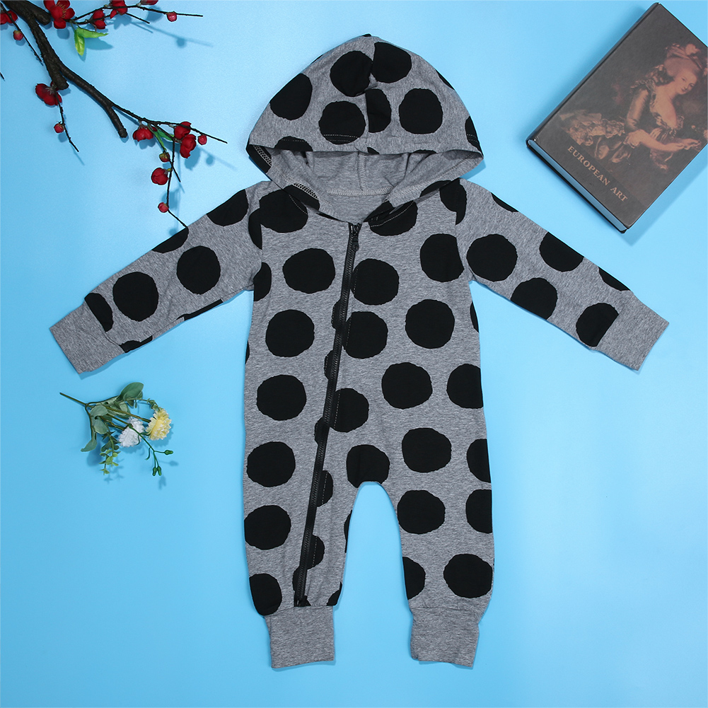 цена на Newborn Infant Baby Boys Girls Polka Dot Romper Long Sleeve Hooded Jumpsuit Clothes Outfit Cute Zipper Baby Outfits Clothes