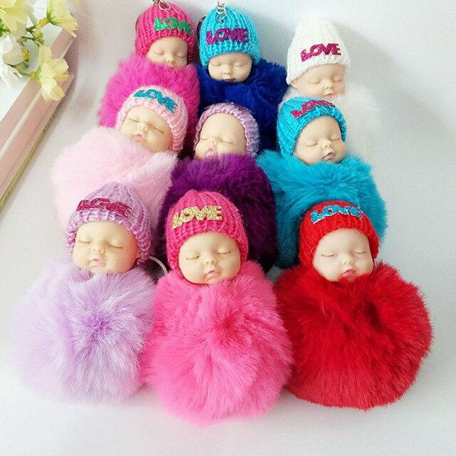 4 pcs Dormir Recém-nascidos Bonecas Chaveiro De Pelúcia Brinquedos Macios Chaveiros Keyholder Chaveiro Bola De Pêlo de Pelúcia Sono Do Bebê Cor Aleatória