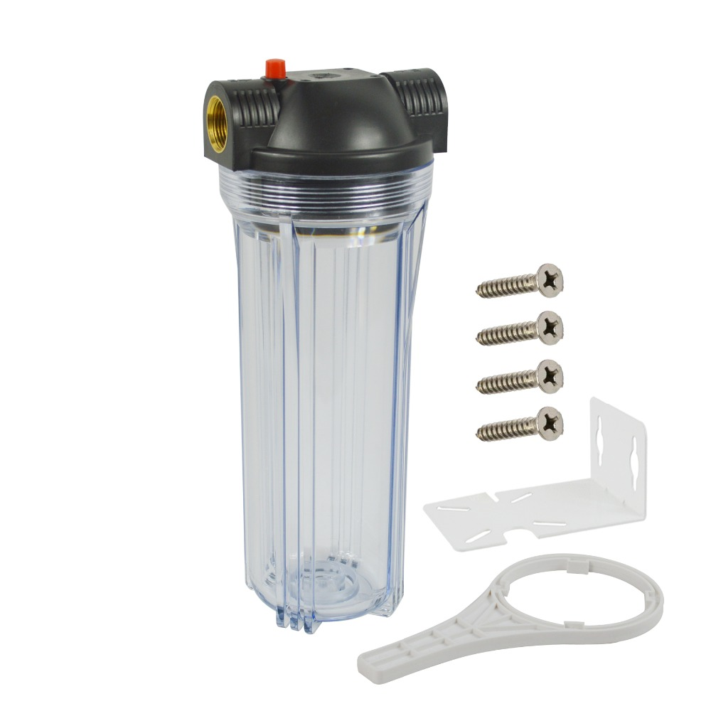 Standard 10 inch Clear Water Filter Housing 3 4 brass port with Pressure Relief mounting bracket