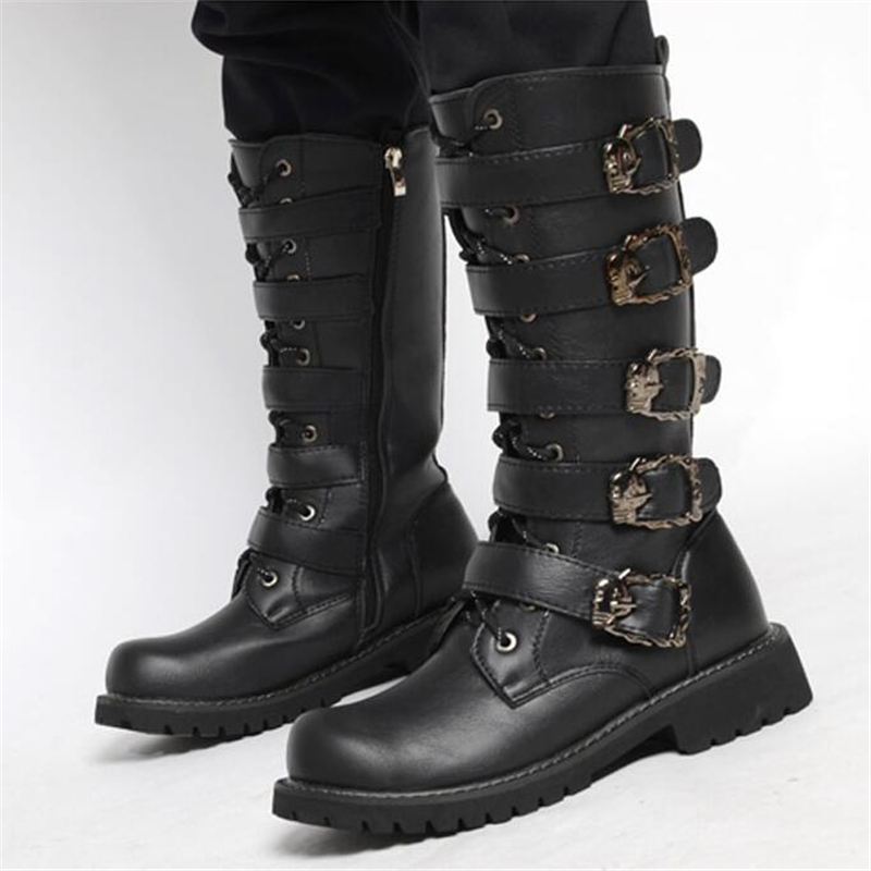 aa007f8f2 Army Boots Men High Military Combat Boots Metal Buckle Punk Mid Calf Male  Motorcycle Boots Lace. sku: 32905171881