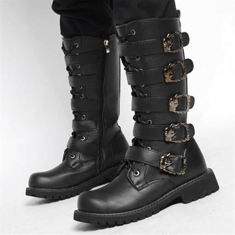 23ef8ca167b Army Boots Men High Military Combat Boots Metal Buckle Punk Mid Calf Male  Motorcycle Boots Lace Up Men's Shoes Rock Punk Boots