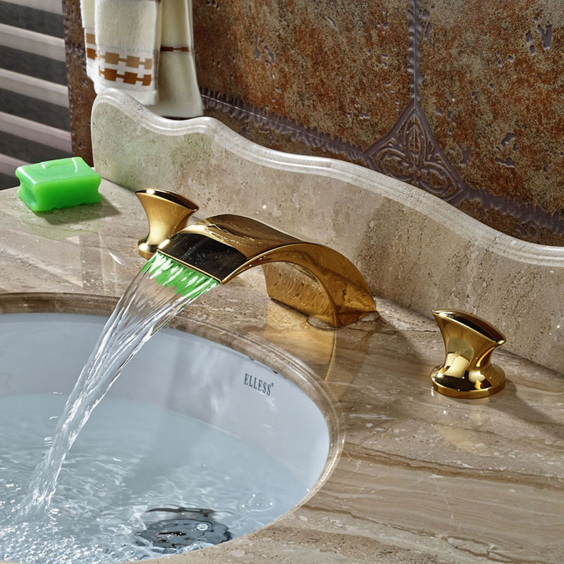 Deck Mounted Bathroom Basin Faucet 3pcs Waterfall LED Spout Gold Polished