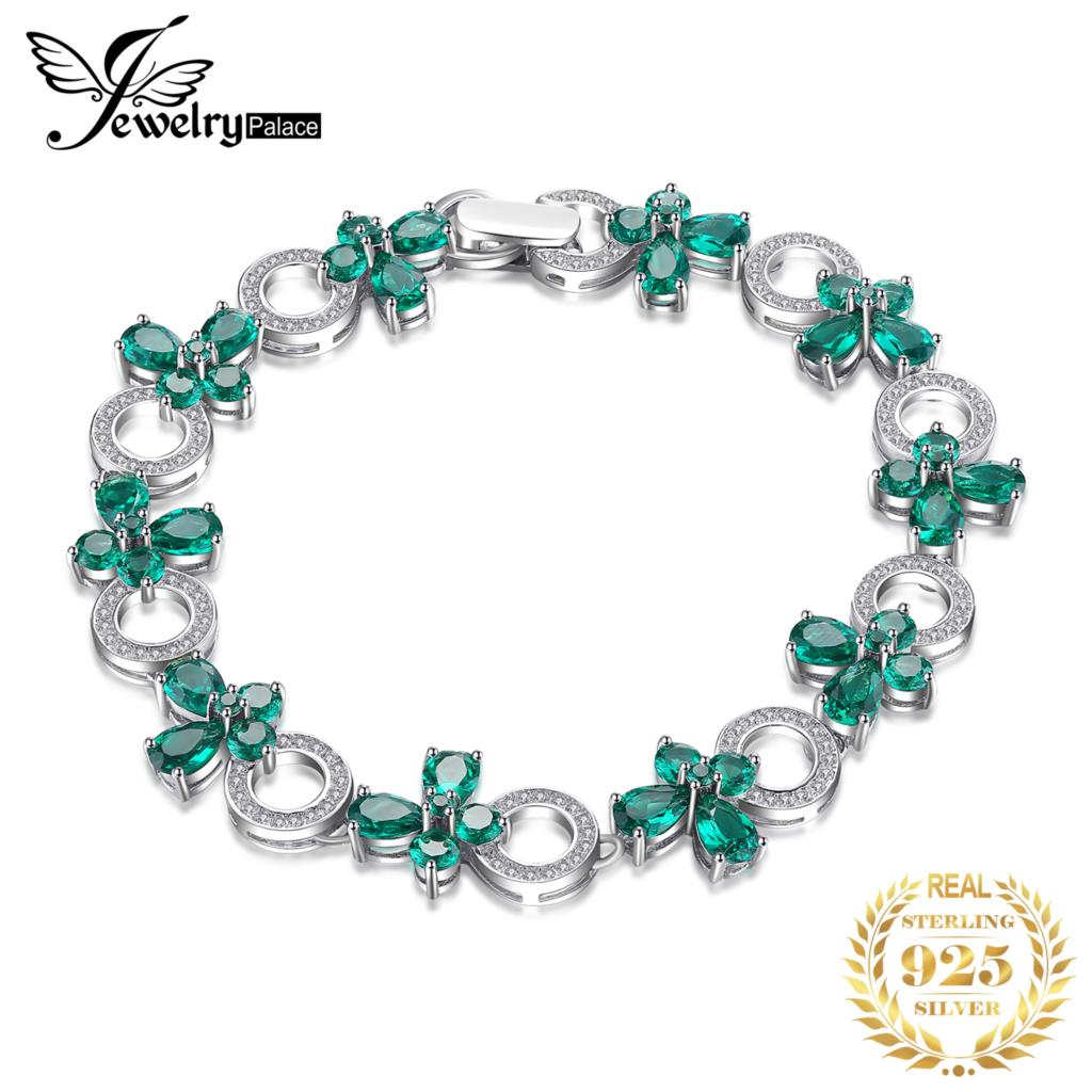 JewelryPalace Butterfly Shape 6 8ct Created Emerald Tennis Bracelet For Women 925 Sterling Silver Jewelry Fine