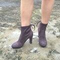 Mujeres Stretch Suede Chunky de Tacón Alto Tobillo Botas de Moda Sexy Lace Up Invierno de Las Señoras Corto Botines Zapatos de Mujer Negro Gris Winered