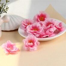 100 шт. мини-ткань Вишневый цветок сливы искусственный цветок Шелковый детский дышащий цветочный букет, столовые композиции Свадебные украшения