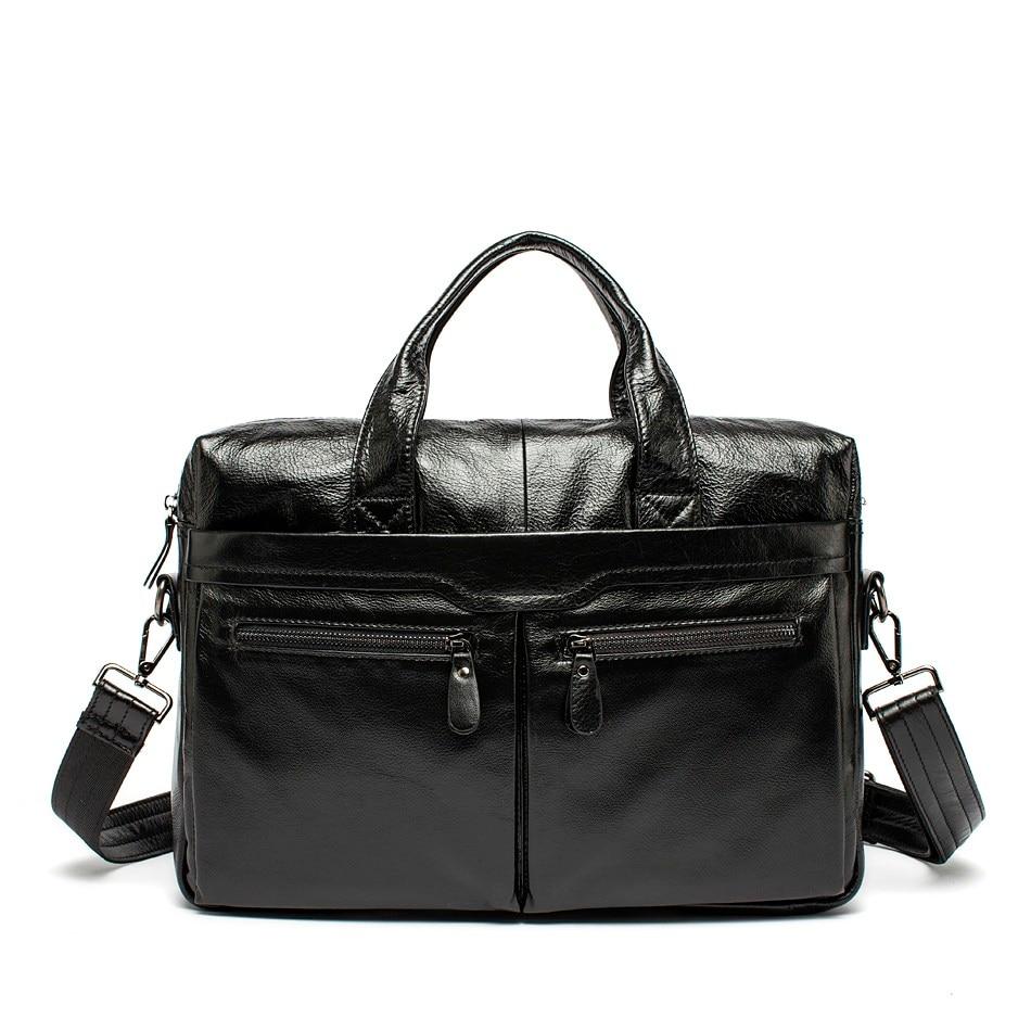 ФОТО 100% Genuine Leather Men bag Vintage Men's Black Handbag men's Messenger Bag Laptop business men's travel bags Briefcase