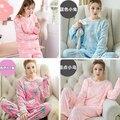Na venda das senhoras das mulheres Inverno Quente Grosso pijamas de Flanela de manga comprida terno Feminino hellio gatinho Dos Desenhos Animados noite casa sleepwear