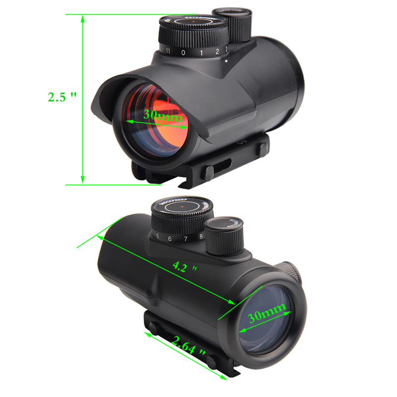 Hunting Holographic 1x30MM Red Dot Sight with 11 Brightness Adjustment fit 11mm & 20mm Rail Mount for Airsoft RL5-0040-12