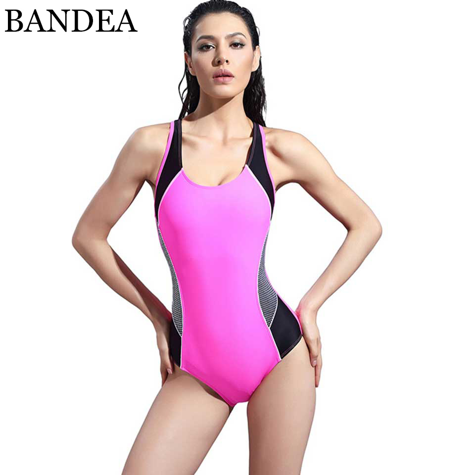 BANDEA Professional Sports Swimwear Women One Piece Racerback Swimsuit Monokini High Quality Brand Slim Bathing Suit979 one piece swimsuits trikinis high cut thong swimsuit sexy strappy monokini swim suits high quality denim women s sports swimwear