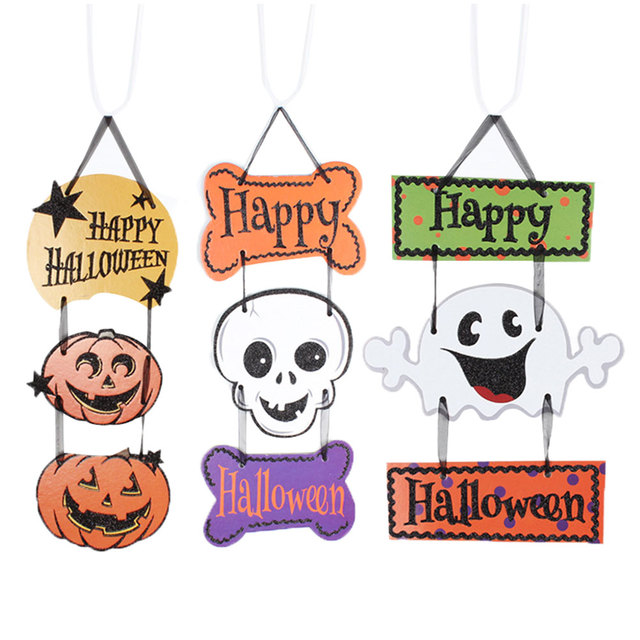 Halloween Party Hanging Decoration Happy Halloween Sign Tag DIY ...