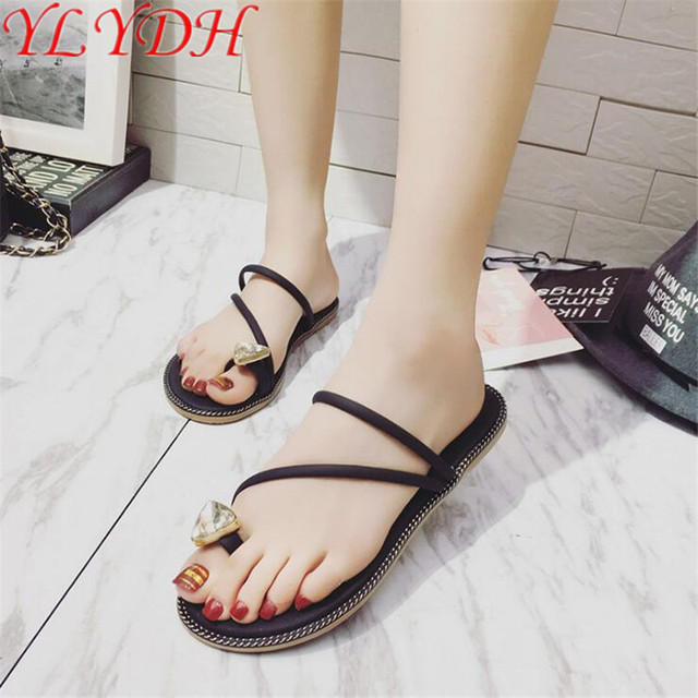 72e190c7f 2017 Summer New Women Flip Flops Sweet Crystal Cool Towel Toe Flat With  Anti-skid Slippers Fashion Sandals Women Shoes