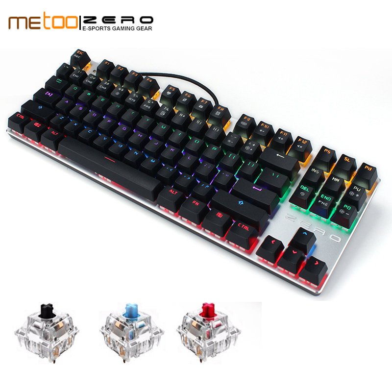Metoo ZERO gaming keyboard wired mechanical Blue/Black/Red switch RGB backlit conflict-free N key rollover 87 104 keys