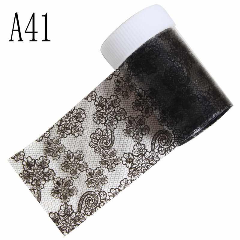 100*4เซนติเมตร1 Bottle16แบบเซ็กซี่ลูกไม้สีดำดอกไม้เล็บฟอยล์โอนG Litterเลเซอร์Petternแต่งเล็บเล็บDIYเครื่องประดับ