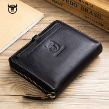 Designer Genuine Leather Wallet Men Wallets Brand High Quality Zipper Men Short Fold Wallet Pocket Purse Male Card Holder