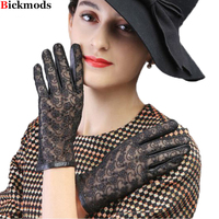 Leather Gloves Women S Straight Style Sheepskin Gloves Embroidered Lace Gloves Unlined Spring Outdoor Driving Gloves