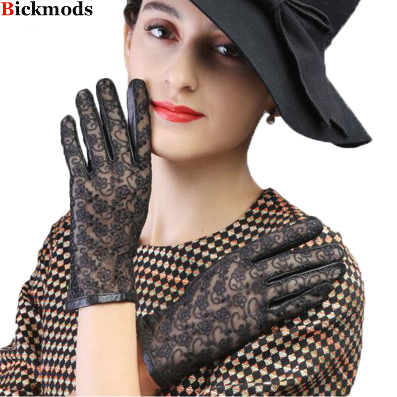 New Women Leather Gloves Female Gloves Leather Ladies Thin Sheepskin Embroidery Lace No Lining Spring And Summer Driving