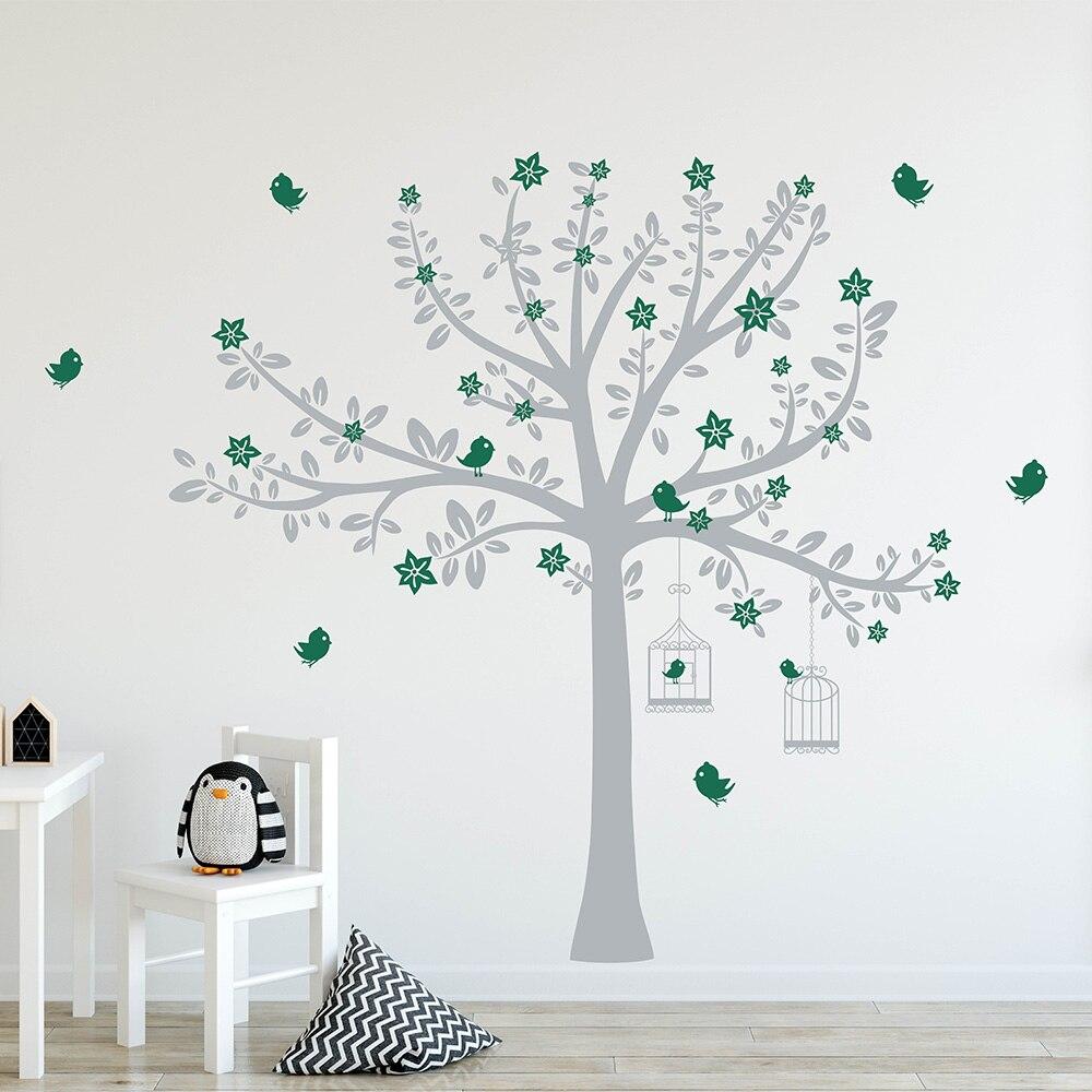 Дерево с цветами и птицами Наклейка на стену Дерево Птицы стикер на стену для детской комнаты стикер на дерево 749T - 2