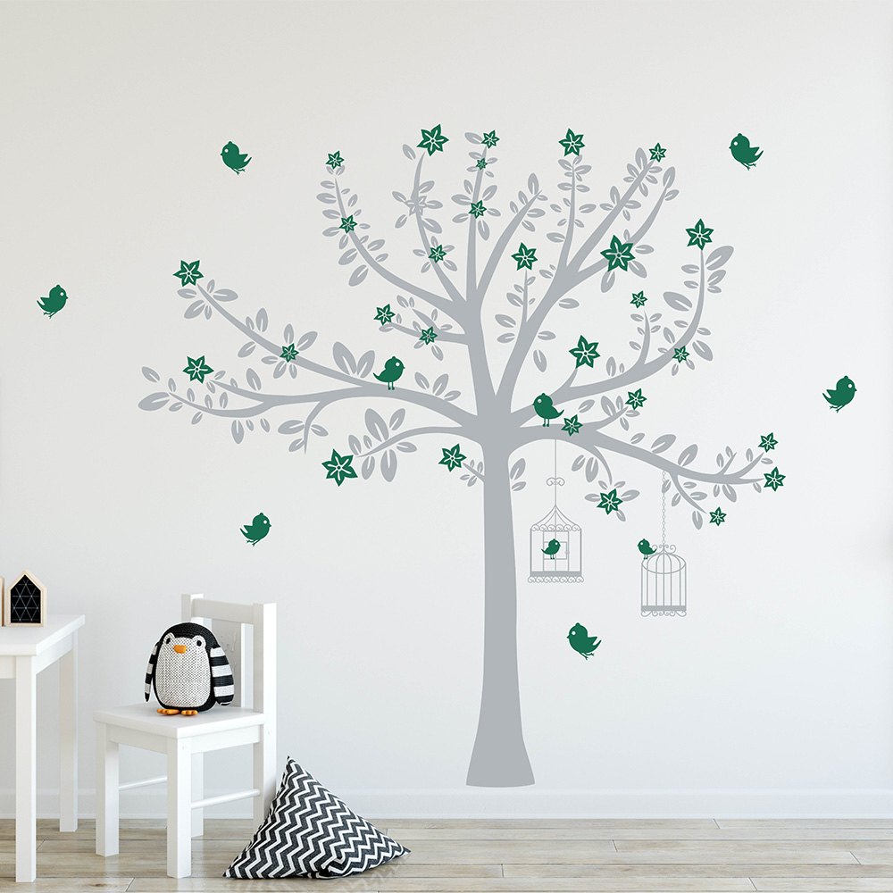 Tree with Blossom and Birds Wall Decal Tree Birds Wall Sticker For Kid's Room Nursery Tree Sticker 749T - 2