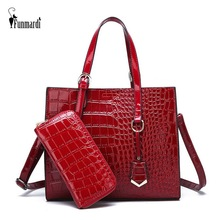 FUNMARDI 2 PCS Women's Bags Set Luxury Alligator Designer Women Handbag and Purse New Crocodile PU Leather Shoulder Bag WLHB1938