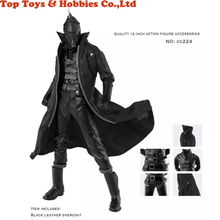 1:6 Scale wired Black Coat Clothing Suits Black PU Leather Suit Coat Set For 12