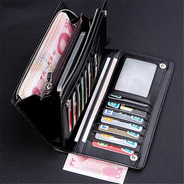 Bifold Men Wallet Brand Famous Mens Leather Long Wallet Clutch Male Money Purse