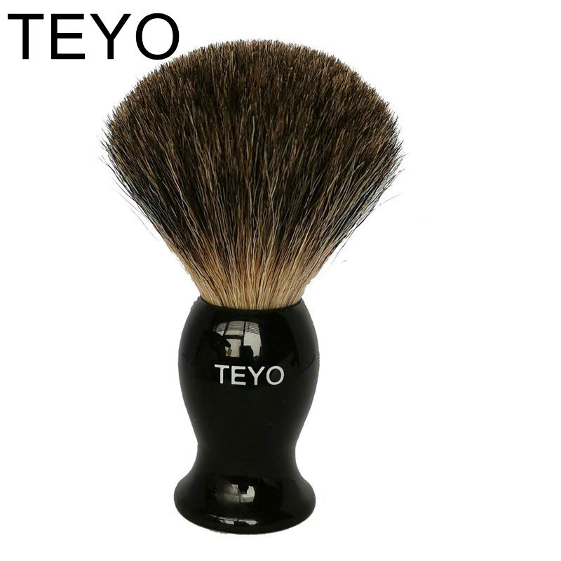 TEYO Pure Badger Hair Shaving Brush Of Resin Handle With Gift Box Perfect For Safety Razor Double Edge Razor 10.8cm X 6cm