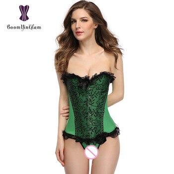 Plus Size Tessuto di Raso Verde Sexy Della Biancheria Delle Donne Underwaear Bustier Del Merletto Rasato Corsetto Top Con La Stringa di G 851 #