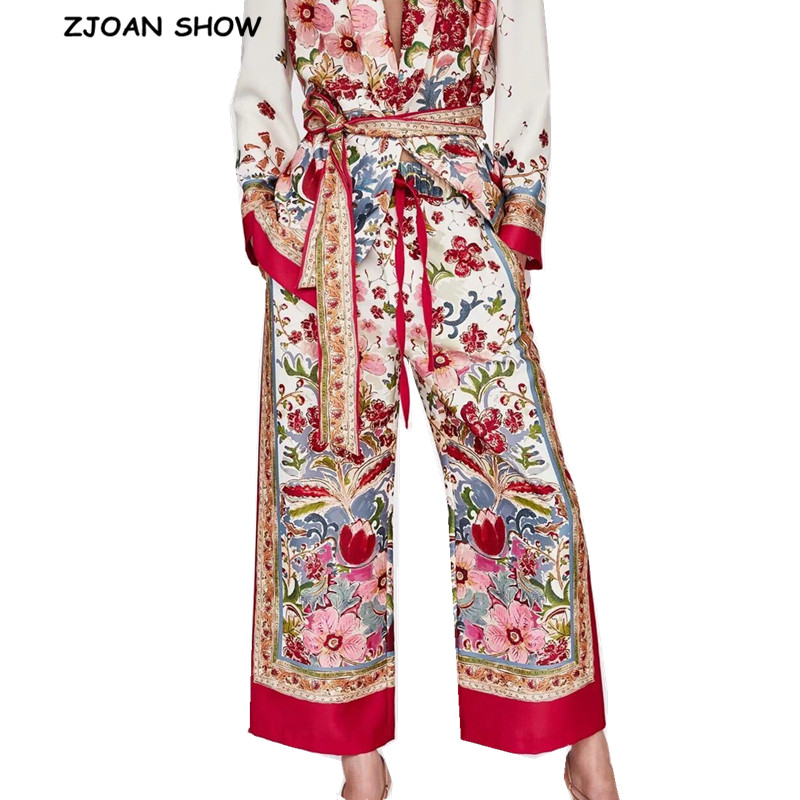 Bohemian Location Colored Flower print   Wide     Leg     Pants   Woman Bow lace up Waist Full length Trousers Casual loose Chiffon   Pants