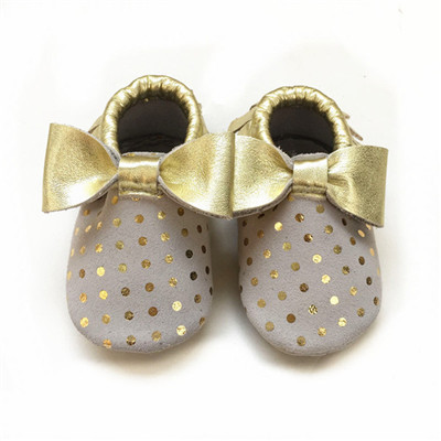 50pairs/lot Genuine Leather Polka Dot Newborn Girl Bow Baby Moccasins Shoes Soft Soled Footwear Crib shoes First walkers