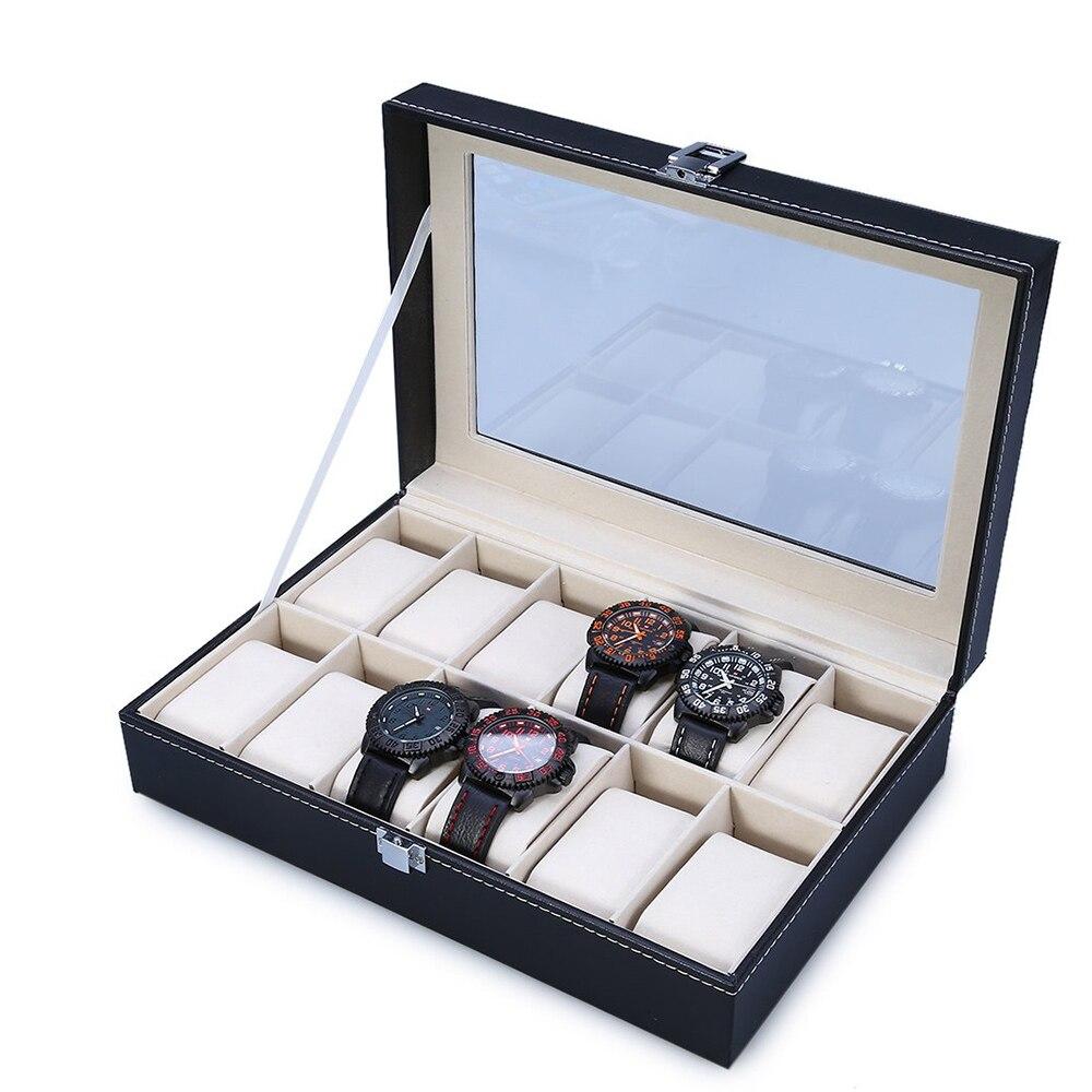 2018 hohe Qualität Pu-leder 12 Slots Armbanduhr Display Box Speicherhalter Organisator Uhrengehäuse Schmuck Dispay Uhrenbox