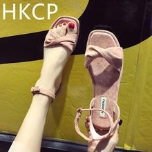 HKCP Fashion 2019 summer new Korean version versatile sandals flat bottom one-button fairy leisure C134