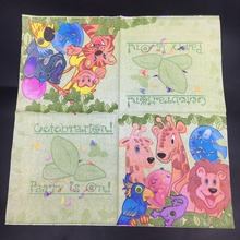 10pcs Jungle king lion theme Paper Napkins Food Festive Party Tissue Decoupage Glass Decoration