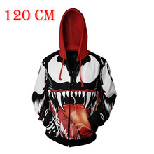 100cm-140cm Children Hoodie Venom Spiderman Fleece Movie 3D Printed Hoodies Streetwear Hip Hop Warm Hooded Men Hoodie for Kids