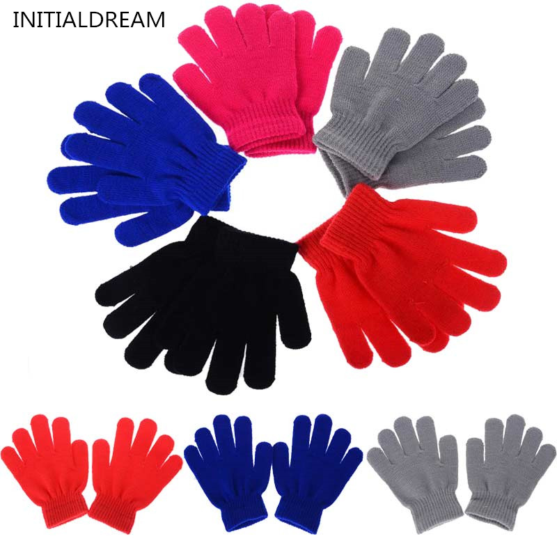 Children Gloves Boy Girl Candy Color Warm Knitted Wool Full Finger Writing Gloves Kids Winter Accessories ST020