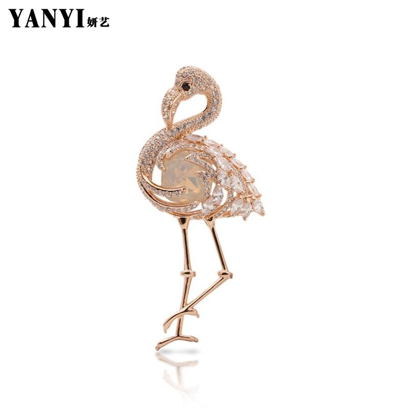 YANYI Elegant Gold-color Vivid Crane Brooches For Women Suit Sweater Banquet Decoration souvenir Christmas Gift