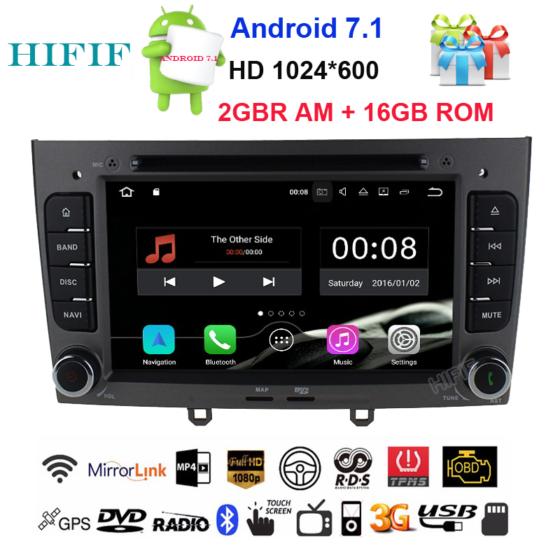 HIFIF Android 7.1.2 Special Car DVD Stereo Navigation for <font><b>Peugeot</b></font> 408 & <font><b>308</b></font> Gray with <font><b>GPS</b></font> RDS IPOD 3G SWC Rearview Free 8GB Map image