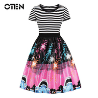 OTEN Big sizes 4XL 2018 summer women fashion dress plus size sexy Short Sleeve Striped Casual midi skater dress pin up vintage