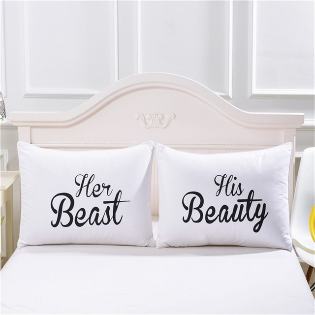 One Pair Pillowcase Decorative Couple Pillow Covers King Queen MR Cool Decorative King Pillow Cases