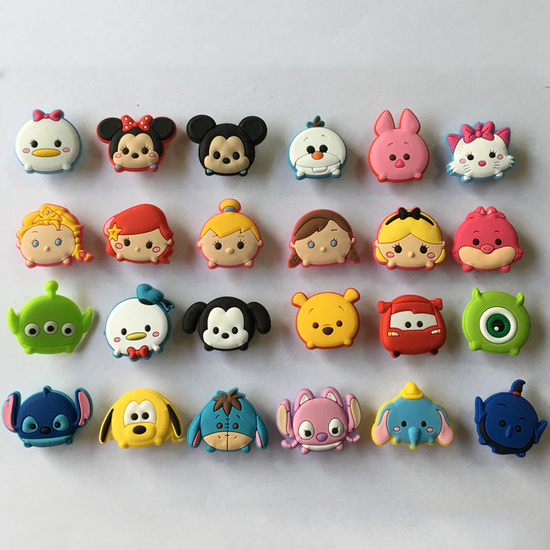 Free shipping 24pcs New Tsum Tsum PVC Shoe Charms Shoe accessories Shoe Decoration for Shoes/ Wristbands kids Xmas Gift free shipping new 22pcs avengers pvc shoe charms shoe accessories shoe buckle for wristbands bands