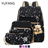YUFANG 2017 Fashion Backpacks Brand 3 Pcs Sets Women Backpack Star Printing Canvas School Bags For