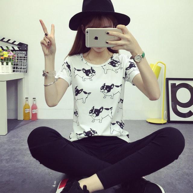 HTB1XZ11JFXXXXcIXpXXq6xXFXXXR - 2016 casual fashion brand women summer style Tops women's Tshirts French Bulldog T Shirts camisetas femininas poleras de mujer