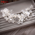 Elegant Hairband Crystal Women headband floral forehead Bridal pearl Jewelry marriage diadem Wedding accessories yueying