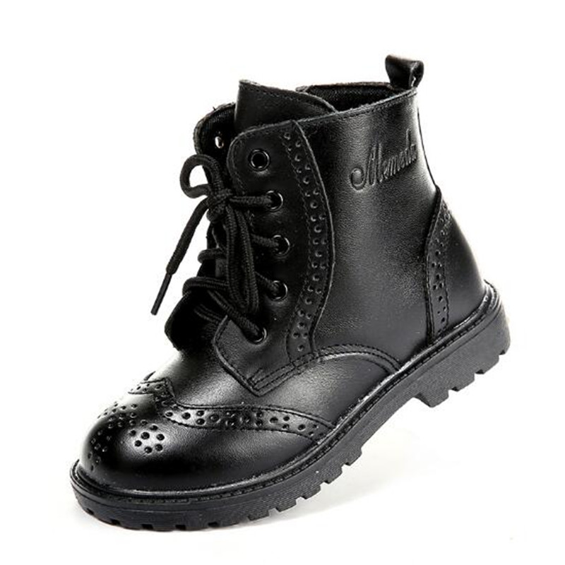 New Autumn Winter Children Genuine Leather Boots Boys Girls Boots Cotton Shoes Kids Snow Boots Soft Bottom Toddler 02A