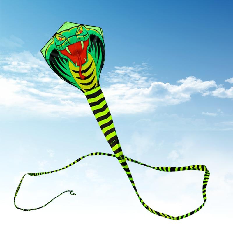 15 m Grand Franchissables Serpent Kite Cobra Cerf-Volant avec la Ligne de la Poignée Extérieure Jouet pour Enfants Adultes de Dessin Animé Triangle Longue Queue cerf-volant Jouet