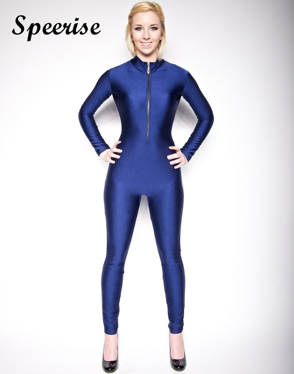 Speerise Adult Lycra Spandex Long Sleeve Dancewear Women Turtleneck Unitard Bodysuit Full Length Front Zipper Suits