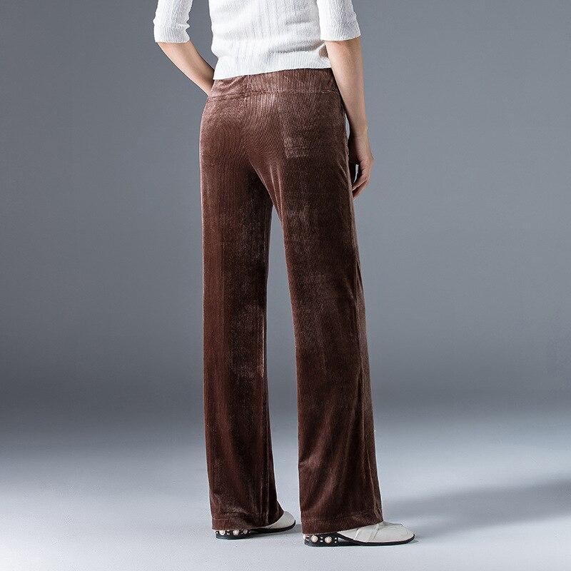 Marron Pleine Velours Nouvelle Simple Pantalon Style Vintage Jambes Femme Taille Conception Longueur Côtelé Poches 2018 Mode Pantalons Droit Moyenne Larges EwTH0qxBC