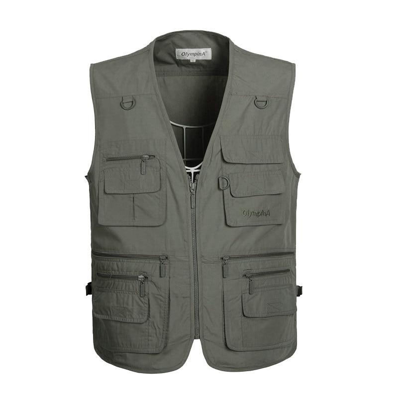 New Leather Men Vintage Multi-pockets Leisure fishing camping Vest coats Autumn