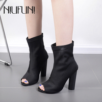 Ankle Sock Boots Thick Heel High Heels Elastic Ankle Boots Pointed Women Shoes Sexy Party Ladies Peep Toe Boots Autumn Winter