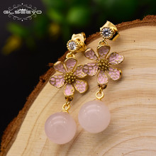 GLSEEVO 925 Silver Ear Pin Natural Pink Crystal Bead Drop Earrings For Women Pave Cubic Zircon Dangle Earrings Kolczyki GE0063A(China)