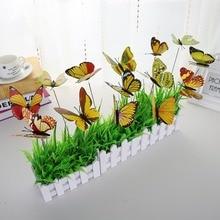 10pcs/9cm butterfly section artificial garden decoration simulation wooden peg field plant lawn f